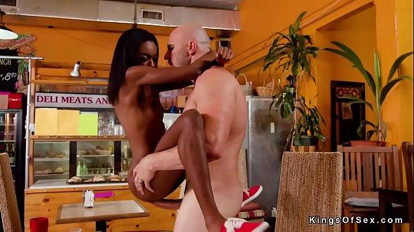 Petite black bartender bangs massive boner